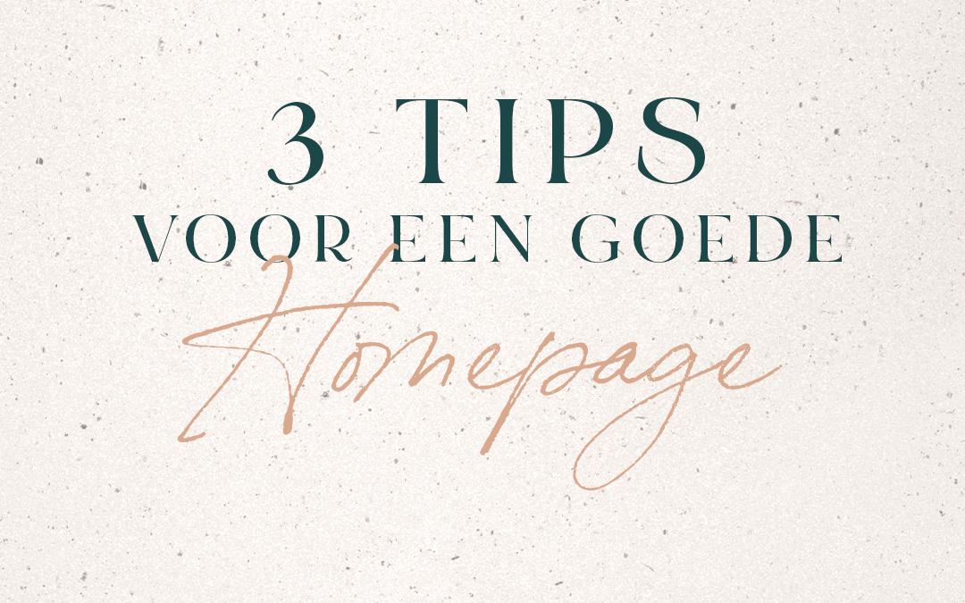 3 Tips voor een goede homepage