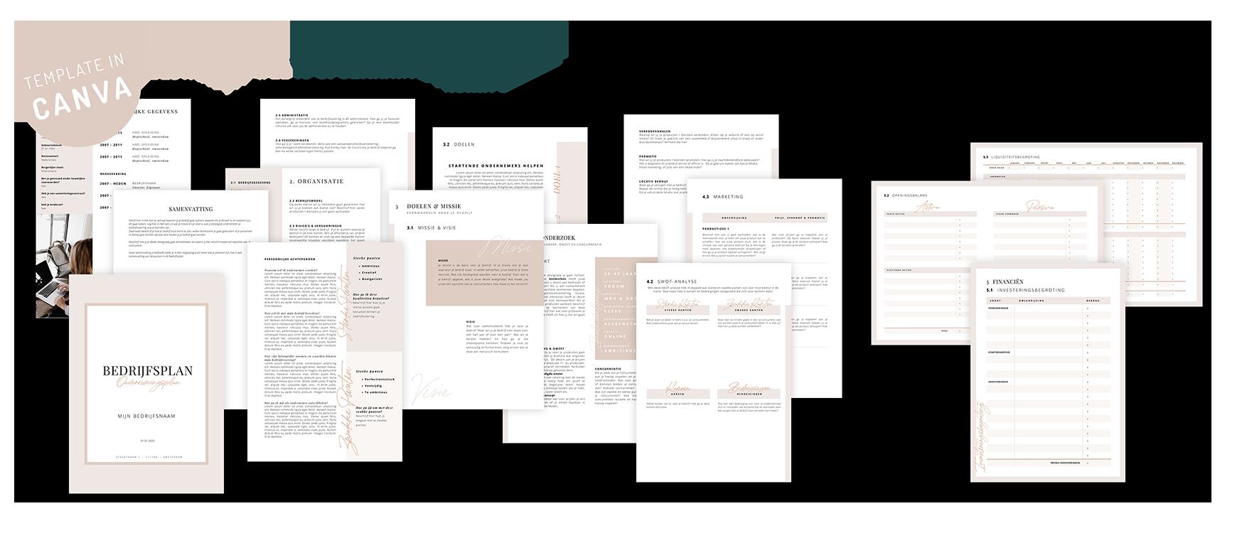 ondernemingsplan template bedrijfsplan template in canva startende ondernemer